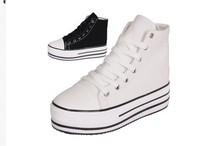 Women Lace-up Canvas High Top Platform Sneakers Tenni Shoes Black/White US5-8.5
