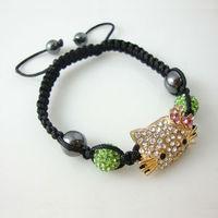 Free Shipping New wholesale Shambala Charm Disco Ball Bead Bracelet with kitty New T-Paris Shambhala Rhinestone Crystal  Jewelry