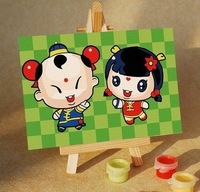 Diy digital oil painting decorative painting lucky ploughboys female 10 15 wood easel