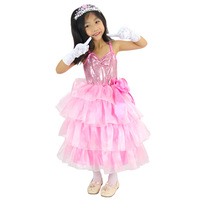 12025 one-piece dress female child performance wear birthday gift paillette cake spaghetti strap princess dress
