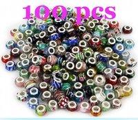 Bead-100pcs hot ! 100pcs 925 glass beads murano beads diy bracelet