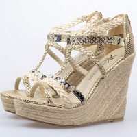 Fashion ultra high heels wedges platform serpentine pattern open toe belt hemp rope toe-covering sandals female