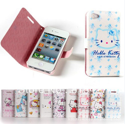 1pcs free shipping hello kitty case soft silicone cover leather case cover(China (Mainland))
