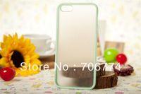 10pcs/lot Light Green TPU Edge +Matte Transparent PC Hybrid Cover/Case for iPhone 5 5S Free Shipping