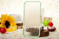 10pcs/lot Light Green TPU Edge +Matte Transparent PC Hybrid Cover/Case for iPhone 5 5S Free Shipping