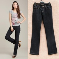 free shipping 3538 thin fashion slender elastic jeans bell-bottom jeans plus size available