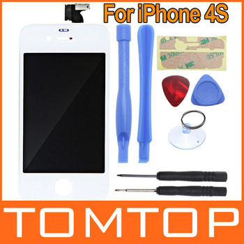 bbWhite Replacement LCD display Touch Screen Digitizer Glass Panel Assembly & Opening Tools for iPhone 4S free shipping