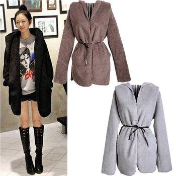 Women's Hoodie Coat Warm Down Cardigan Long Sleeves Fluffy  Blouse Jacket  Tops Black/Brown/Gray