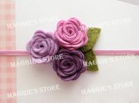 """3"""" Baby girl rose felt headband Girls' Hair band Baby felt hair bows flower head band hair bands B015 60pcs"""