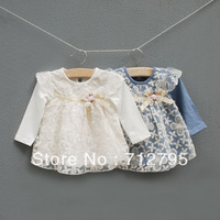 Spring and autumn female baby clothes long-sleeve bow lace lovely princess dress