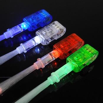 Stunning led luminous finger ring fiber optic finger light hip-hop props supplies