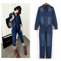 2014 New Spring Autumn Women Jeans Jumpsuit Rompers Overalls Straight Loose Long sleeve Trousers England L Free shipp Wholesale