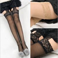 Sexy sexy spaghetti strap socks lace socks split black stockings
