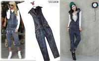 New arrival Women fashion denim hooded one piece bib pants jumpsuit clothing jeans