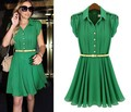 Hot Sale! Fashion First Quality Women&#39;s Dress Summer Clothes Chiffon 2 Colors Free Shipping