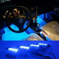 Newest 12V automobile repacking Fashion 4 x 3 LED Blue Car Charge interior decoration light  Free shipping
