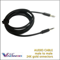 FREE SHIPPING 3.5mm cotxes aux-en cable male to male gold-connector 1meter for ipod /ipad/mp3/speaker/computer