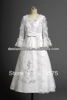 2013 New Style Elegant White A Line Sweetheart Floor Length Ribbon Appliques Lace Girls First Long Sleeve Communion Dresses