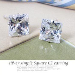 Min. order is $15 (mix order) fashion silver plated diameter 6 mm square zircon stud earrings(China (Mainland))