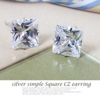 Min. order is $15 (mix order) fashion silver plated diameter 6 mm square zircon stud earrings