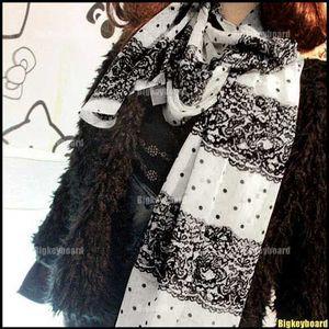 Fashion Women Ladies Lace Poka Dot Print Chiffon Shawl Scarf Long Stole(China (Mainland))