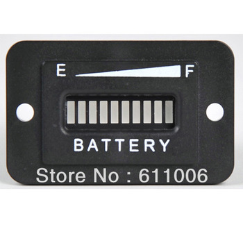 Battery Gauge Meter,Car Charge 10 LEDS Indicator for 12V-24 Volt DC System for Solar System, Forklift, Golf Cart