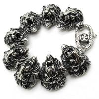 Factory Price Men's Huge Prower Lion heads Bracelet Bangle Cool Men Black Stainless Steel Fashion New Arrival