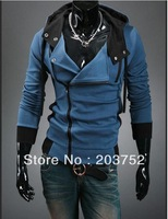 2013 new men's long sleeve fashion Slim zipper cardigan hooded sweatshirts/coat/hoodie,gray blue,maxi