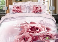 2013 new Beautiful 100% Cotton 4pc Doona Duvet QUILT Cover Set bedding set Full / Queen/  King size 4pcs pink nice  flower