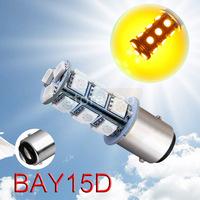 10pcs 1157 BAY15D P21/5W 18 SMD 5050 Amber / Yellow Tail Turn Signal 18 LED Car Light Bulb Lamp Parking Car Light Source