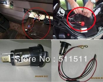 12V 120W Car Motorcycle Cigarette Lighter Power Socket Plug + Black USB Charger