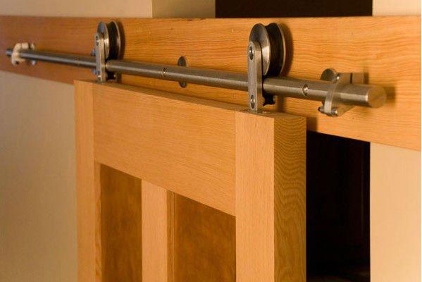Free shipping wood door sliding wooden door full set hardware polished