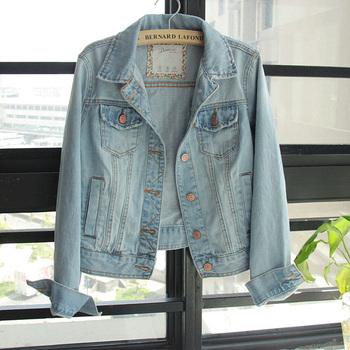 Free ship Euro Fashion CLASSIC Casual Long Sleeve Dark / Light Blue Denim Vest Jean Jacket, Women Cute Slim Jeans Outerwear Coat