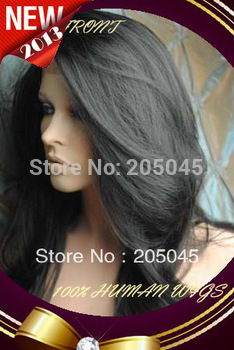"2013 XCSUNNY Gorgeous 12""-26`` #1B Natural Black Body Wave Glueless Lace Front Human Hair Wigs 100% Indian Remy Hair Wig GLF027"