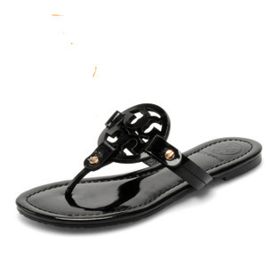 Female Slippers T B Black Sandals Flip Flat Slippers Genuine Leather Flip FLops TBS01