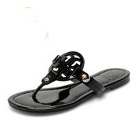 Female Slippers T B Black Sandals Flip Flat Slippers Genuine Leather Flip FLops TBS01