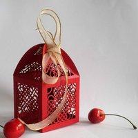 Most popular hearts design laser cut  wedding favor red four hearts wedding box