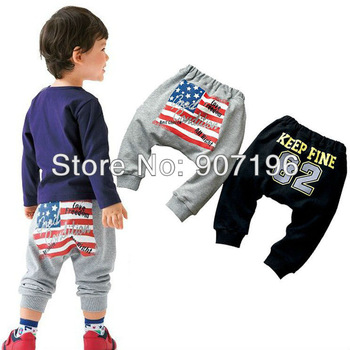 free shipping!5pcs baby boy Soft trousers,100% Cotton casual pants, Flag and digital print Harem pants ,boys' outfits 2 colors