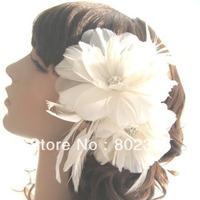 White Ivory Feather Bridal Flower,Wedding Hair Accessories