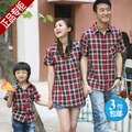2013 fashion  family set plaid shirt short-sleeve family pack clothes for mother and son