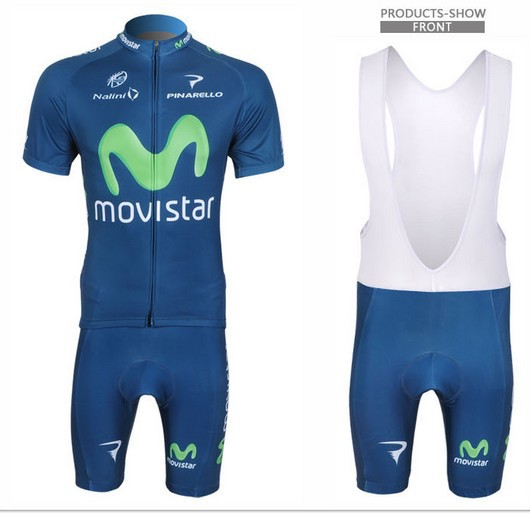2013 France New Movistar Mobile Star Fleet Strap Short-sleeve Cycling Jerseys Suit Cycling Clothes(China (Mainland))