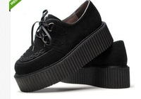 Free Shipping Women's Faux Suede Lace Up Punk Goth High Platform Creeper Shoes