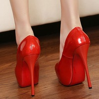 2013 red high-heeled shoes candy japanned leather sexy ultra high heels single shoes female bridal bridesmaid shoes