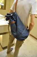 Free shipping--2014 fashion men cool bags denim satchel bag,individual cylinder vintage shoulder bag,fur casual messenger bags