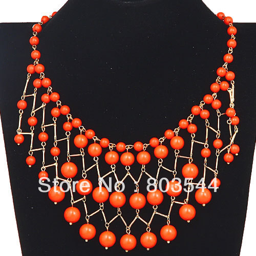 Free postage! 2013 Fashion Orange Bauble Cascade Bib Necklace Wholesale(China (Mainland))