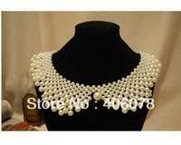 Created Pearl Chocker necklaces Collars necklaces fashion Women Jewelry, Free shipping