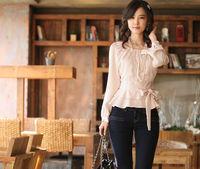 Hot sell Korean Style ladies fashion blouses shirt 2Colors Women's blouses shirt ladies slim Chiffon long sleeve blouses shirt