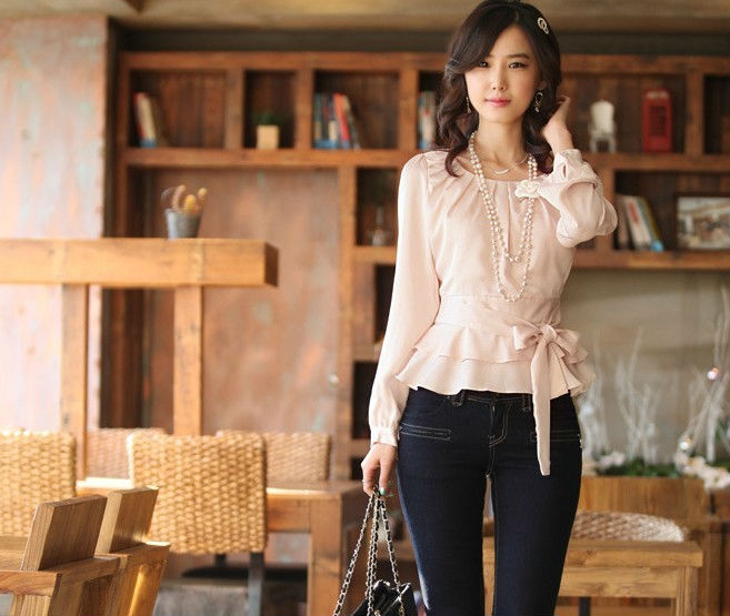 Hot sell ladies fashion shirt 2Colors Women's blouse ladies slim long sleeve blouse Of Office Ladies shirt(China (Mainland))