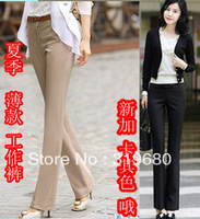 New arrival summer all-match female western-style trousers white-collar work wear pants boot cut women's