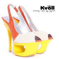 free shipping  color block decoration cutout women's platform  candy color open toe ultra high heels leather sandals goatswool
